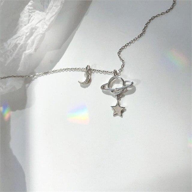 Novo criativo belo planeta lua e estrela 925 prata esterlina jóias personalidade cristal clavícula corrente colares h527