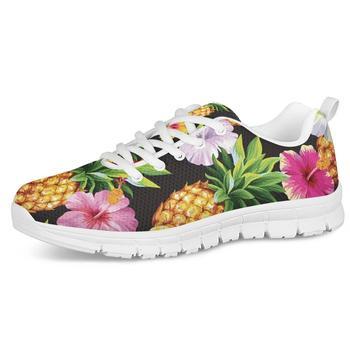 Nuevos Zapatos de correr con impresión en hibisco de piña, zapatillas de...