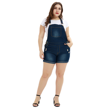 Jeans Jumpsuits Shorts Women Overalls Hemming-Pants Dungaree Washed Skinny Casual Plus-Size