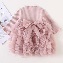 Весеннее платье для маленьких девочек, вязаное платье с длинным рукавом для девочек, Повседневное платье-пачка для маленьких принцесс, Детс...
