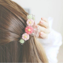 XPAYXPAY Hair Claws Small daisy flower grabber Hairpin Hair Accessories for women Fashion Girls Pearl Crystal Rhinestone hairpin luxury rhinestone flower round hairpin for women