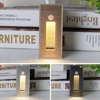 Luz de escalera Led con Sensor de luz por movimiento PIR de pared de acabado antiguo, lámpara de pared de detección de movimiento humano infrarrojo, luz de escalera de paso empotrado