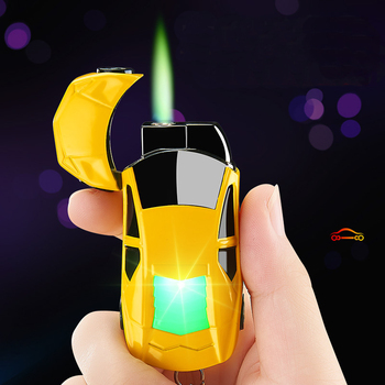 New Torch Turbo Lighter Creative LED Car Jet Butane Gas Inflated Cigar key Ring Lighter Cigarette Green Flame Lighter Windproof moonlight sword creative windproof lighter bronze