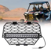 UTV Front Bumper Grille w/ LED Light Bar For Polaris RZR XP XP4 1000 RZR-4 900 RZR Turbo RZR-XC RZR-S LED Light Black 2014-2015