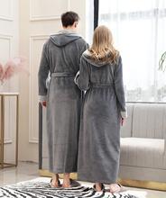 Lovers Couple Long Hooded Pajamas Coral Fleece Robe Winter Thick Warm Women Men Nightgown Bath Gown Female Large Size Sleepwear