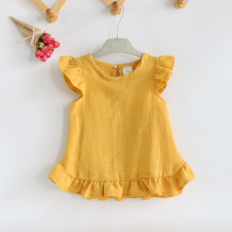 VIDMID 2-6Years Toddler Kids Baby Girls Sleeveless T Shirts Vest Solid Pure Color Casual Baby Summer Tops Clothes P197 2