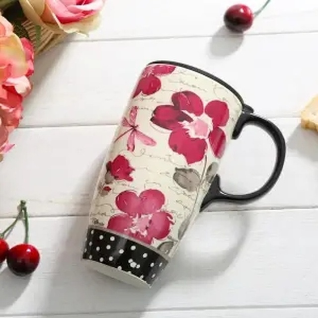 Taza de cerámica de marca de capacidad grande, taza creativa de café Simple con tapa, tazas y tazas, taza de acero inoxidable, tazas de café