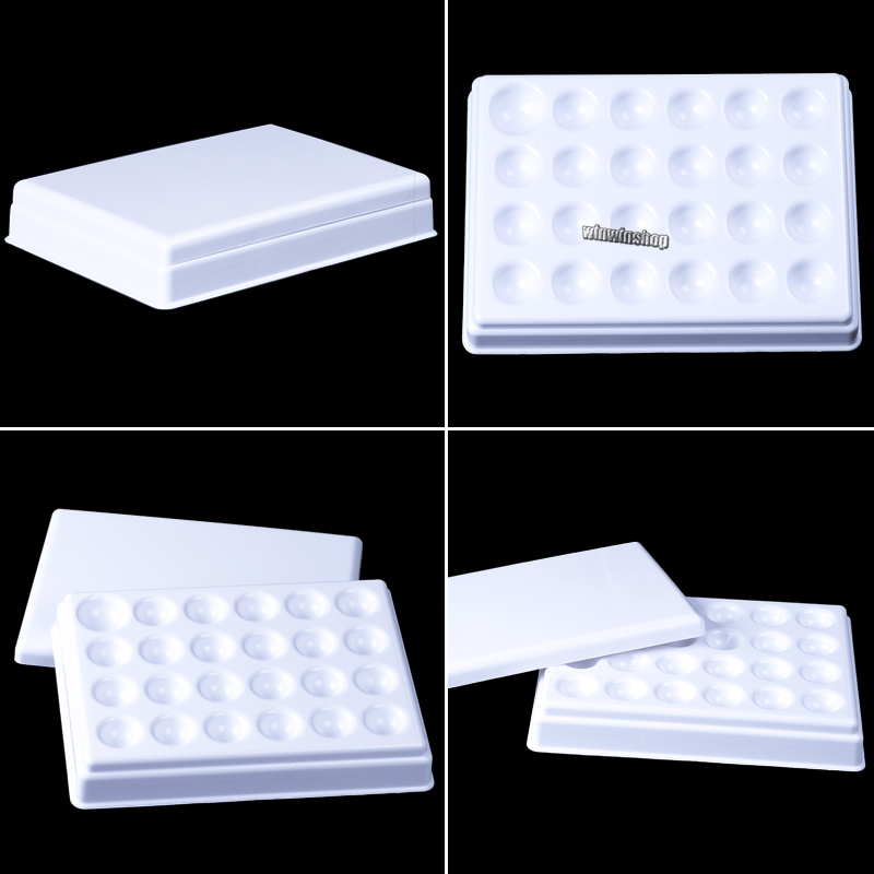 Dental Lab Porcelain Mixing Watering Moisturizing Plate 24 Slot Ceramic Palette With Cover