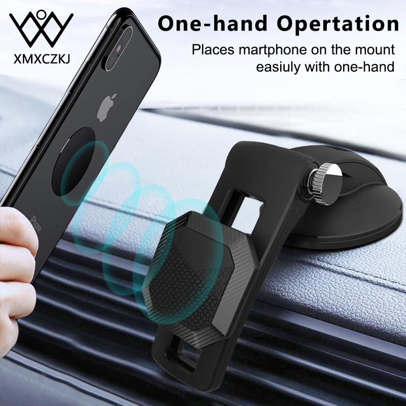 Car Magnetic Suction Cup Phone Holder For IPhone 11 Pro Nano Holder Windshield Dashboard Adjustable Sliding Magnetic Phone Stand