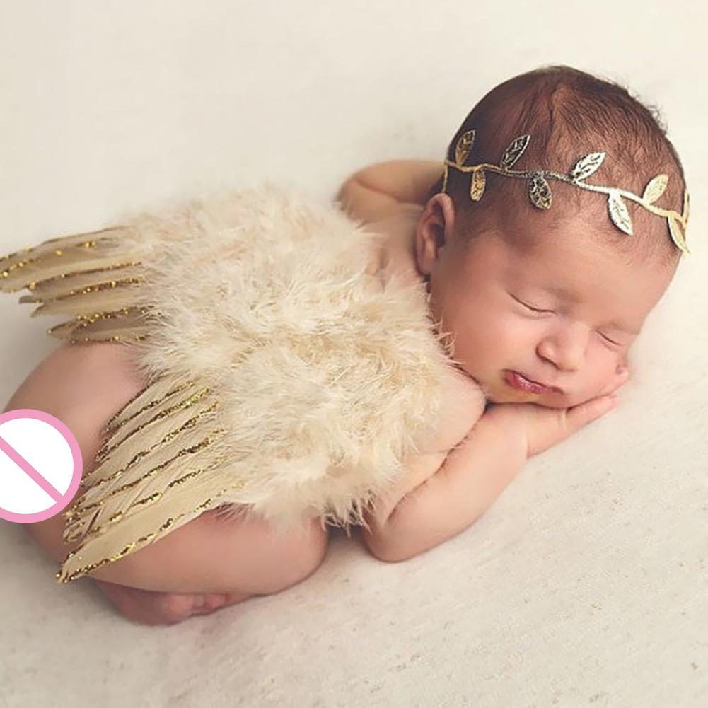 2pcs/Set Baby Leaf Hairband Feather Angel Wings Cute Newborn Photography Props Infant Costume Outfits Toddlers Photos 0-6M#37