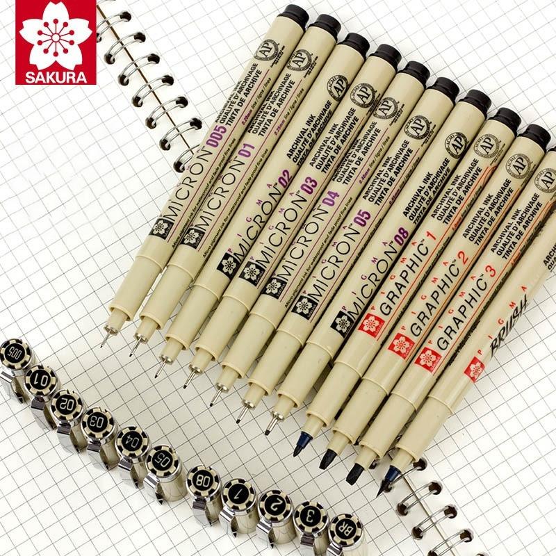 Sakura Pigment Marker Pens Pigma Micron Pen Needle Soft Brush Drawing Painting Waterproof Art Markers Drawing Sketch Cartoon