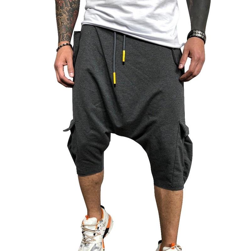 Summer Cotton Harem Pants Men Casual Hip Hop Trousers Drawstring Cross Bloomers Calf-Length Pants Joggers Streetwear