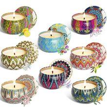 Ароматы 8 шт., ароматерапия, ароматическая свеча, натуральный соевый воск, дорожный оловянный Декор для дома