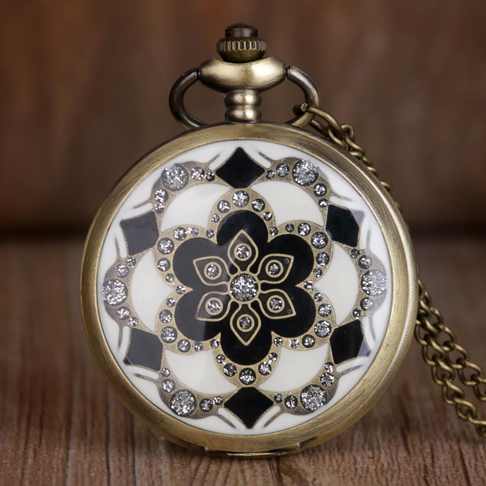 Vintage Bronze White Jade Flower Crystal Quartz Pocket Watch Necklace Chain Pocket Watch Pendant Chain Gifts