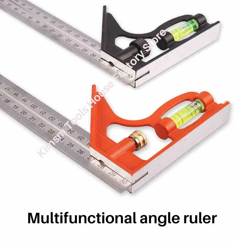 Многофункциональная угловая линейка из нержавеющей стали, 12 дюймов, 300 мм, 45/90 °, комбинированная квадратная угловая линейка с измерительным...