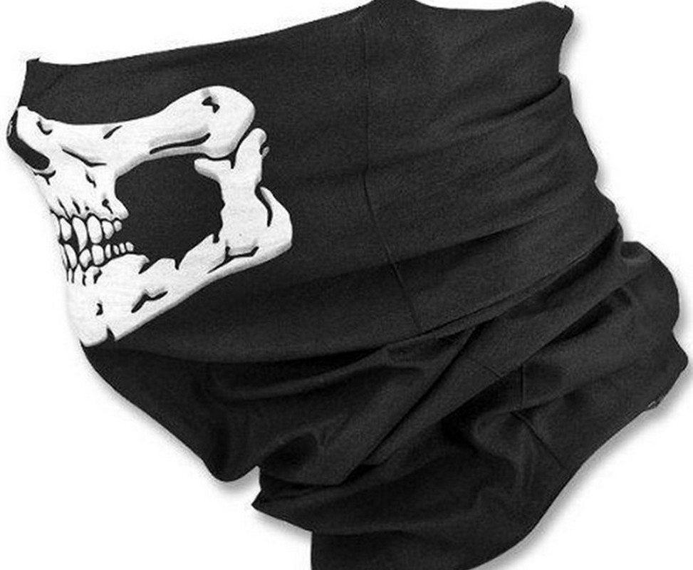 Halloween Bandanas Windproof Skeleton Skull Scarf Neck Half Warmer Face Mask Ghost Scarves for Outdoor Sports Climbing Hiking 3