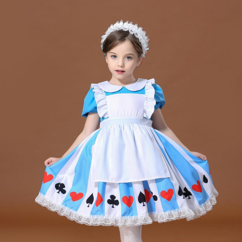 Girls Alice In Wonderland Alice Fancy-Dress Childs Halloween Carnival Party Cosplay Fantasy Costume