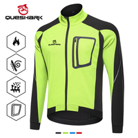Queshark Water Resistant Reflective Cycling Jacket Winter Warm Thermal Cycling Jersey Bicycle Clothing Windproof Sport Coat