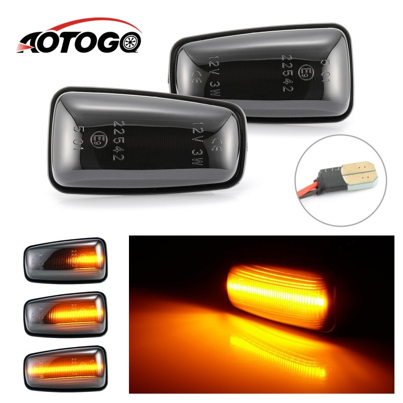 2pcs Dynamic smoke LED Side Marker signal Light For <font><b>Peugeot</b></font> 106 II 306 <font><b>406</b></font> 806 for Citroen Fiat image
