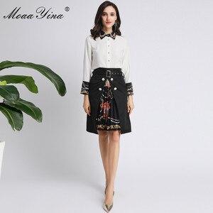 Image 3 - MoaaYina Fashion Designer Set Spring Autumn Women Long sleeve Beading Pearl Shirt Tops+Ruched Skirt Elegant Two piece set
