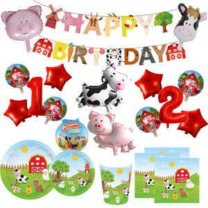 Farm Animals Theme Birthday Party Decoration Kids Paper Napkins Plates Cups Bags Disposable Party Tableware Decorative Plates