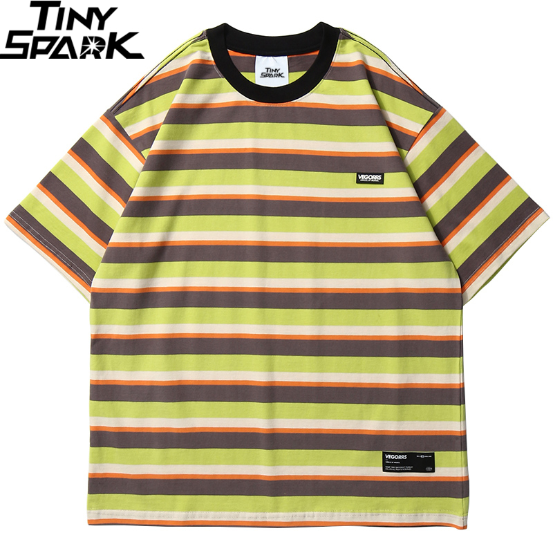 Hip Hop T Shirt Men 2020 Streetwear Harajuku Stripe Tshirt Short Sleeve Cotton HipHop T-Shirt Loose Fashion Tops Tees Green Blue