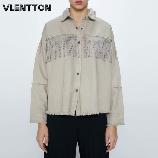 2020 Spring Autumn Fashion Rivet Tassel Denim Jacket Women Solid Short Casual Loose Jean Coat Female Outwear Tops Chaqueta Mujer 1