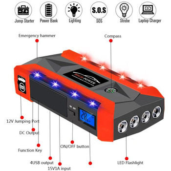 Car Jump Starter 800A Peak Current Battery Fashionable Battery Booster Diesel Petrol Starting Emergency Auto Power Bank image