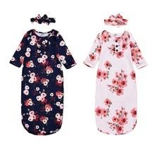 Спальный мешок для малышей; осенняя одежда для сна с длинными рукавами и цветочным принтом для маленьких мальчиков и девочек+ повязка на голову; комплект одежды для новорожденных