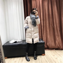 2019 winter new female models long down cotton padded coat large size student cotton padded straight cotton jacket
