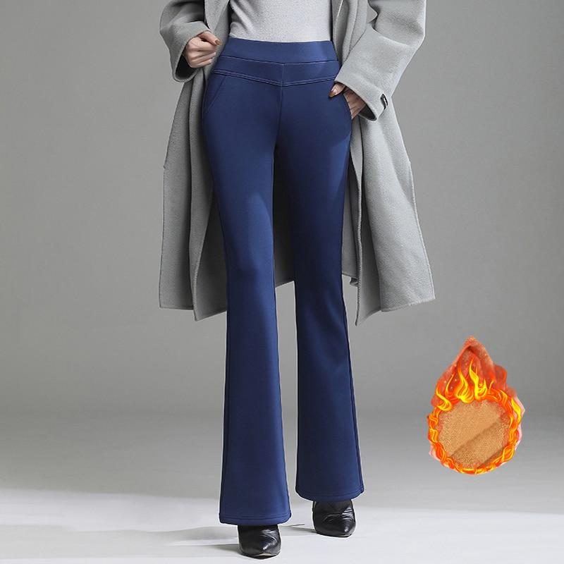 Теплые меховые женские зимние брюки из плотного флиса брюки женский черный, синий и красный цвета джинсовые шорты, с завышенной талией, элас...