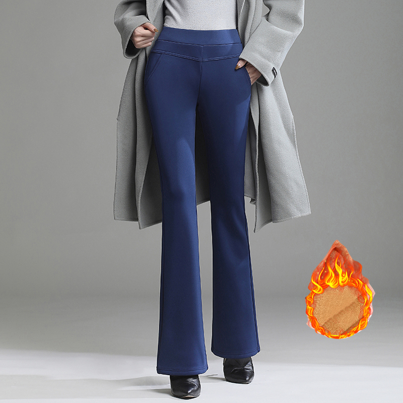 Warm Women Winter Flare Pants Thicken Fleece Trousers Female Black Blue Red High Waist Stretch Pants Warm Velvet Legging S-4XL