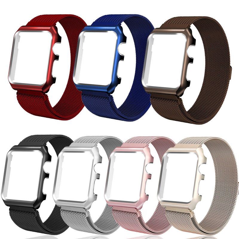 Milanese loop wristband For apple watch band serie 5 4 3 2 1 Metal Protective Case Cover Bracelet strap For iwatch 38/42/44/40mm image