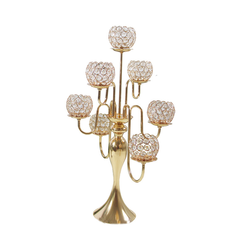 10 pcs/Lot Table bougeoirs placage métal chandelier géométrique ronde romantique bougeoirs pour mariage dîner décor ZZT027