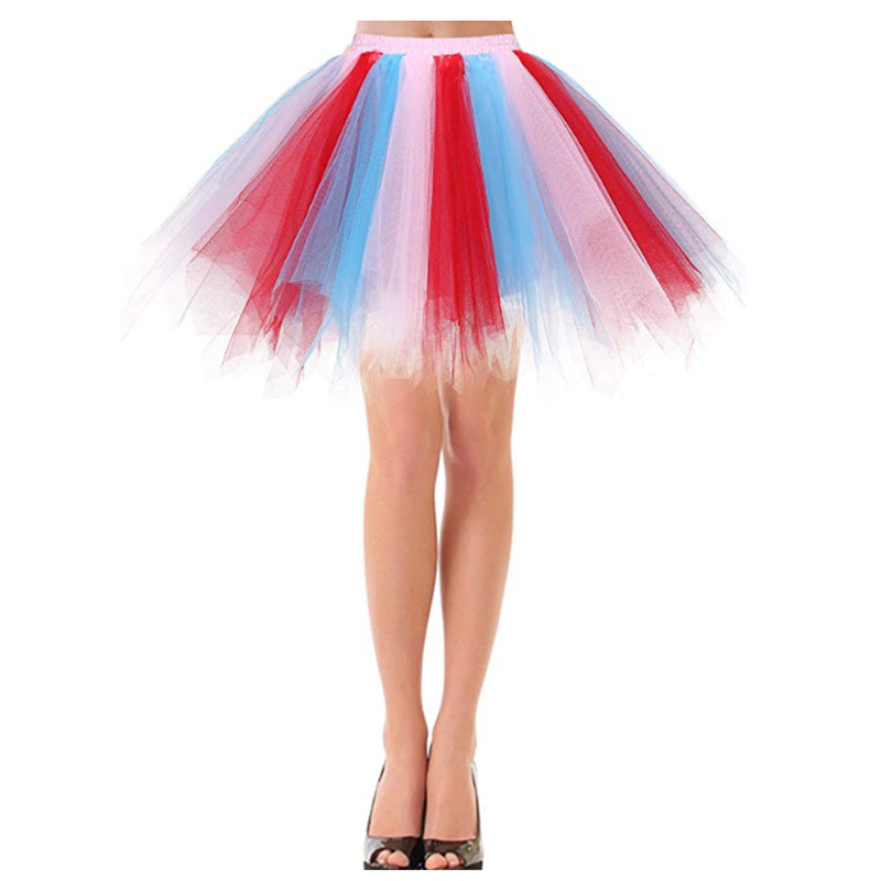 50's Retro Ballet Prom Party Skirt Multicolor Summer Sexy Lady Irregular Mini Slim Tulle Pleated Skirt Petticoat