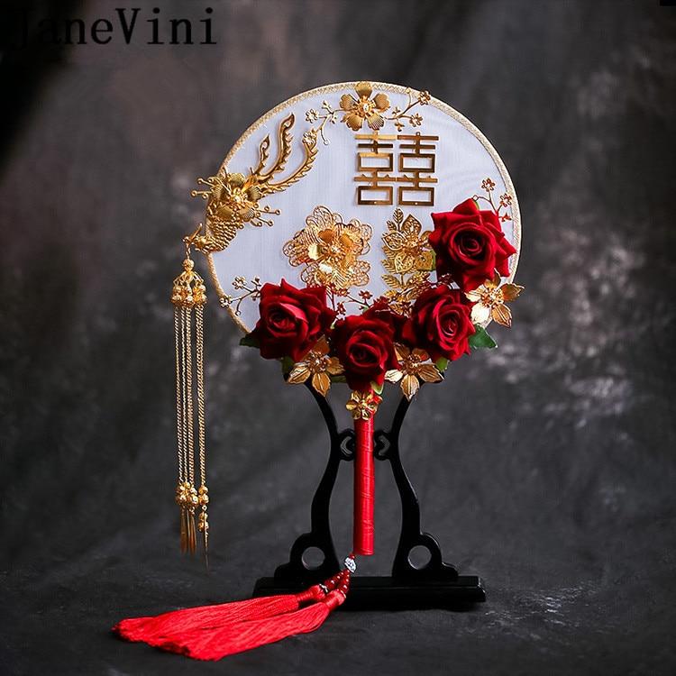 JaneVini Bride Buket Dark Red Bridal Fan Chinese Style Long Tassel Wedding Bouquet Ancient Gold Hand Fans Flowers Fleur Rose