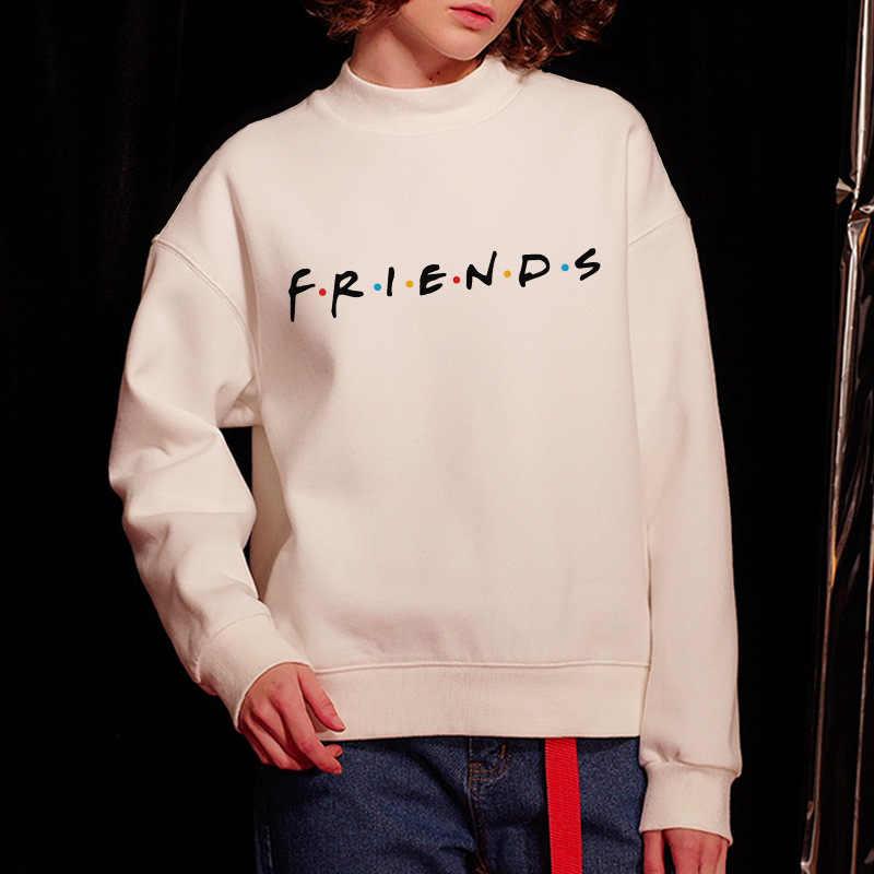 Womens Letters Vrienden Print Lange Mouwen Hoodie Sweatshirt Dames Slouch Trui Jumper Tops 5 Kleuren Sml Xl Merk nieuwe 2019