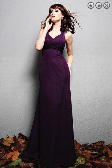 free shipping fashion 2016 elegant dress plus size brides maid vestidos formales purple long dresses chiffon Bridesmaid Dresses