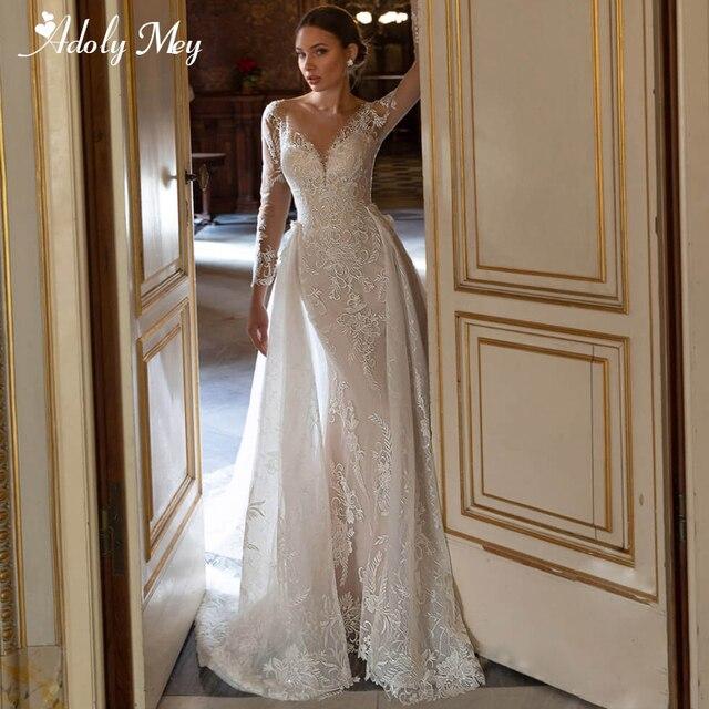 Adoly Mey Gorgeous Appliques Detachable Train Lace Mermaid Wedding Dress 2021 Scoop Neck Beading Long Sleeve Vintage Bridal Gown 1