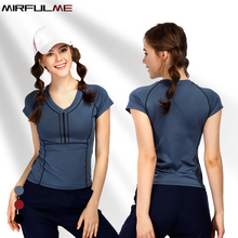Women Sport T-shirts Female Yoga Shirt Elastic Running T-shirts Quick Dry Fitness Shirt V-neck Slim Tee Tops Gym Training Blouse