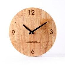Simple Modern Wood Round Solid Wood Wall Clock Quartz Clock Mute Living Room Bedroom Stylish Decorative Clock