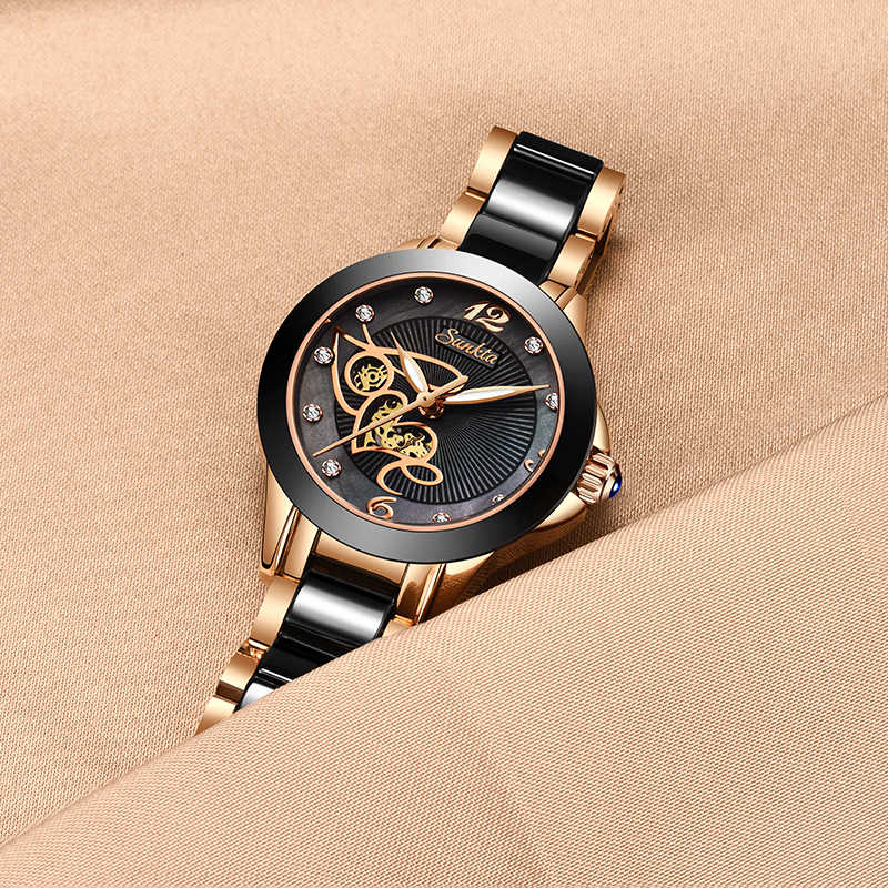 SUNKTA יהלומי משטח קרמיקה רצועת אופנה עמיד למים נשים שעונים למעלה מותג יוקרה קוורץ שעון נשים מתנת Relogio Feminino