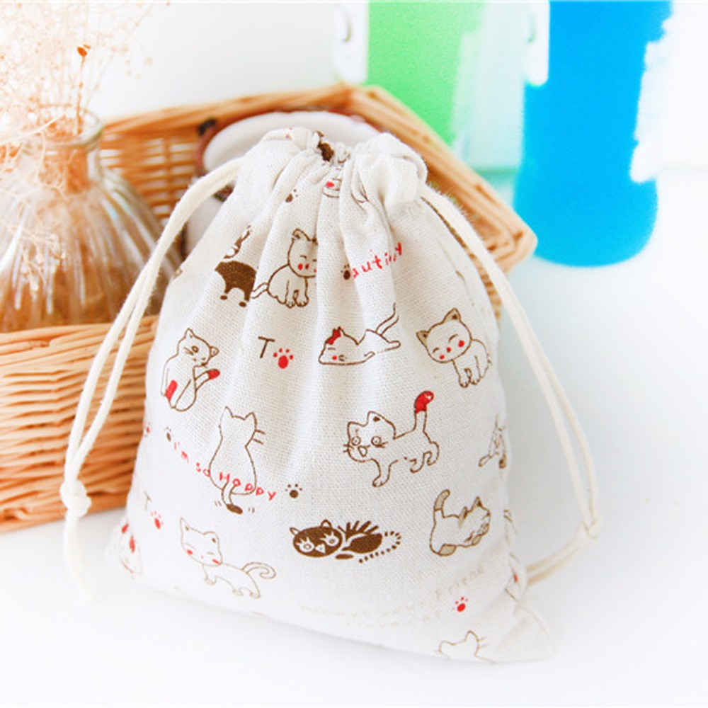 Cute Cat Drawstring Bag Women Bundle Storage Pouch Christmas Candy Gift Bag White Children Baby Toys Collection Package 2019