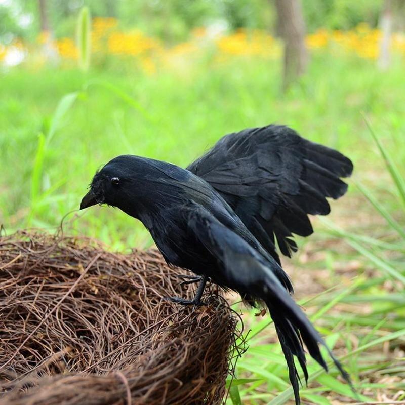 Искусственная птица, охота, реалистичный ПЭ черный двор, ворона, Охотничья приманка, садовый отпугиватель птиц, страшник, сдерживание вреди...