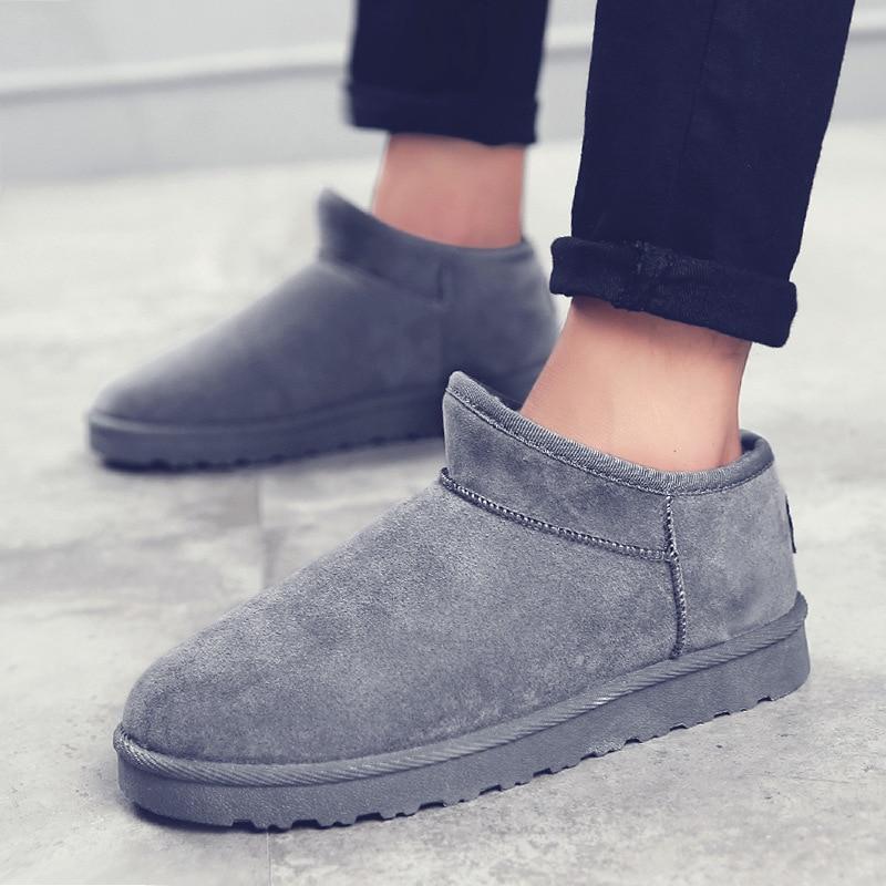 Fur Snow Boots Men's Winter Warm Plus Velvet Thick Short Anti-Slip-Style Slip-on Shoes Mian Bao Xie