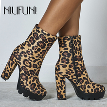 NIUFUNI Women Zipper Boots Leopard Ankle Boots Thick Heel Platform High Heels Round Toe Ladies Sexy Slip On Shoes Western Boots цена в Москве и Питере