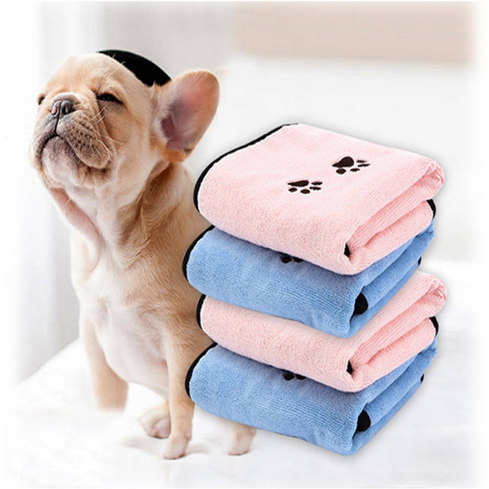 2 Pcs Pet Dog Cat Towel Microfibre Bathrobe Towels Quick Drying Super Pet Absorbent Towels  Dog Cleaning Supplies