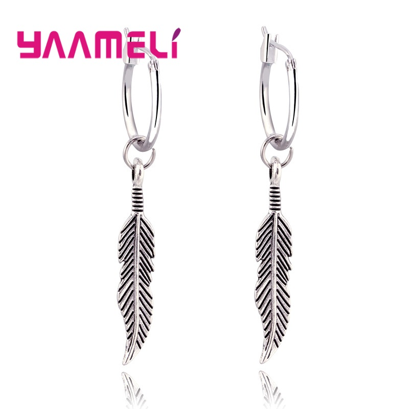 New Collection 925 Sterling Silver Fashion Long Earrings Women Bohemia Style Leave Shape Drop Earring