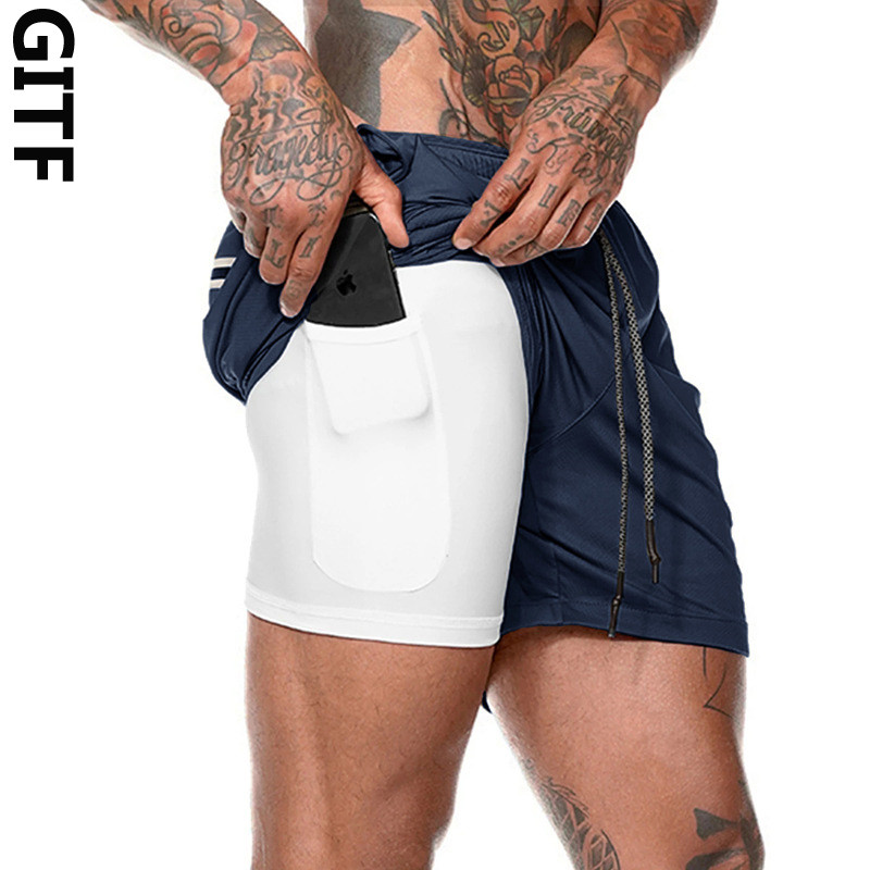 NEW Men's Running Shorts Quick Drying 2 In 1 Sports Shorts Male Double-deck Sports Mens Jogging Gym Men Breathable Short