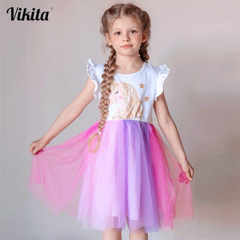 VIKITA Unicorn Dress For Girls Children Cartoon Vestidos Kids Tutu Dresses Toddlers Summer Dress Sleeveless Princess Dresses